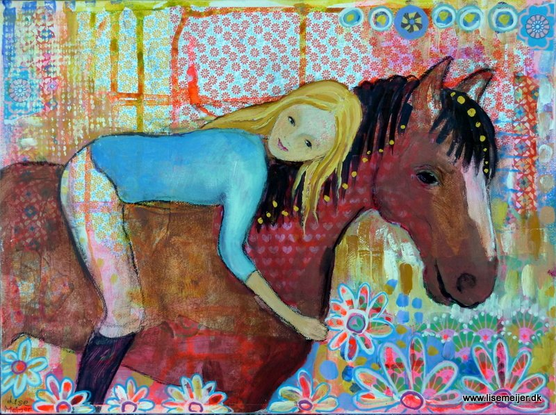 """Heart to heart/Hjerte mod hjerte"", mixed media on canvas, 30 x 40 cm (Sold)"