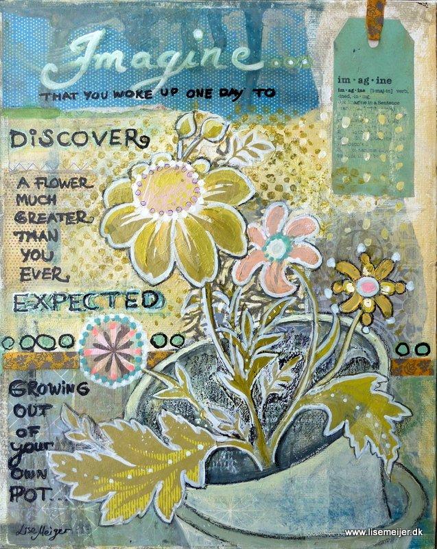 """Imagine/Forestil dig"", mixed media on canvas, 25 x 30 cm"