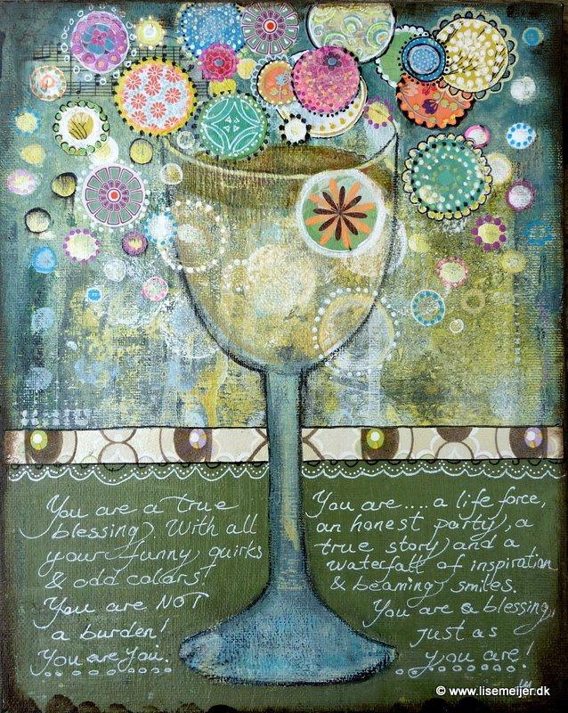 """You are a Blessing/ Du er en velsignelse"" Acrylic and paper on canvas, 24 x 30 cm 1600 kr."