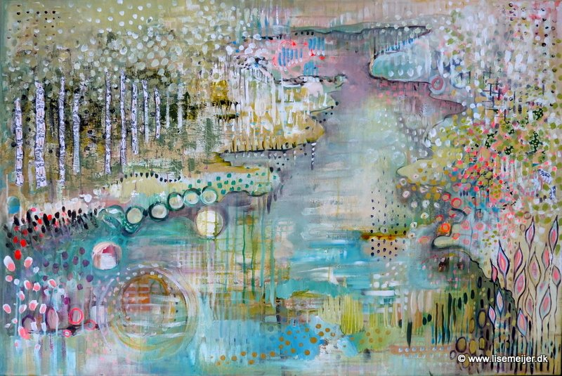 """River of my heart/ Hjertets flod"" - 31,5 x 47,2 in/ 80 x 120 cm, acrylic and paper on deep edge canvas. Price: 925 $/ 6.500 kr."